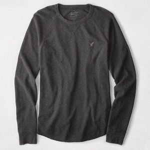 5/15$ Grey & Black American Eagle Heritage Classic Fit Thermal Long Sleeve